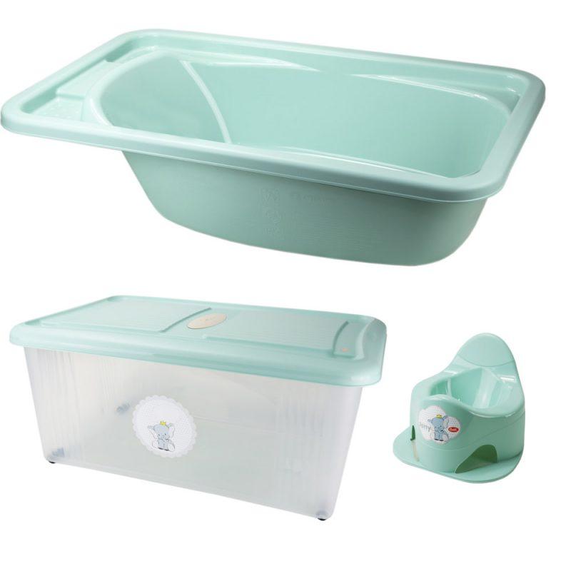 Conjunto Banheira Pote e caixa de arrumação